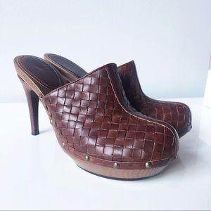 BOTTEGA VENETA Intrecciato Brown Leather Clog Mule